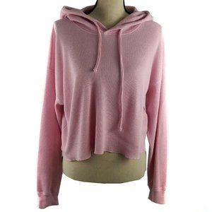 Aritzia Tna Hoodie Large Pink Cropped Top
